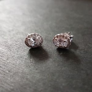 New 14K White Gold on 925 CZ Ovaline Earrings